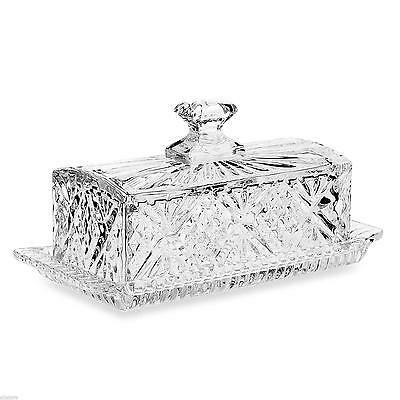 Lidded Butter Dish Dining Crystal Glass Covered Dinnerware Kitchen