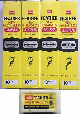 FEATHER Platinum Coated Double Edge DE Shaving Premium Blades Yellow–100%Genuine