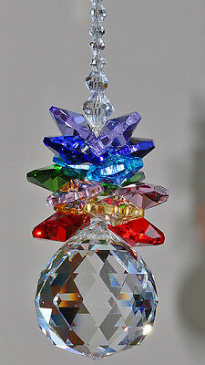 40cm long Crystal Suncatcher Sphere ball angel chakra ornament feng shui decor