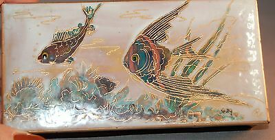 GORGEOUS Vintage Mid-Century Modern Enamel Copper Box w/Colorful Fish! WOW!