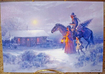12 Vintage Leanin' Tree Fine Art Christmas Cards Horse Family Cabin Snow 2515