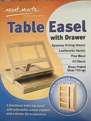 Mont Marte Table Easel W Drawer Pine Wood Artist Easel Painting Stand Craft Art