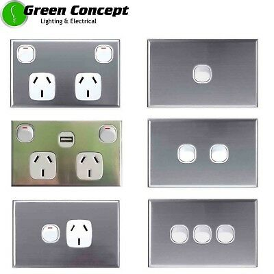 Standard Light Switch Double Power Point GPO White Stainless Steel Silver Cover