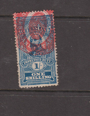 QUEENSLAND 1901 1/- Dark Blue ED 7th  IMPRESSED DUTY - VFU