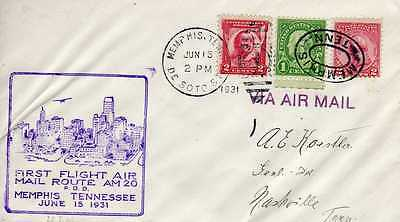 Etats Unis USA 1ers vols first flights airmail 395