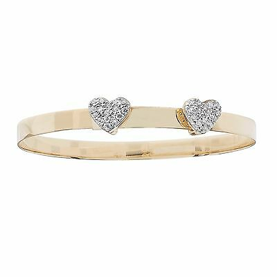Solid 9ct Yellow Gold Baby Twin Heart Bangle Personalised Christening Hallmarked