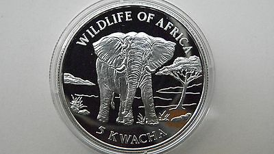 1997 Malawi 5 Kwacha Elephant Silver Proof Coin