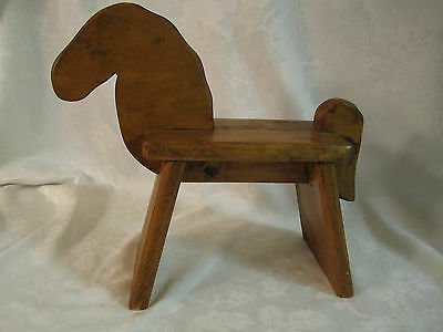 Horse Small Folk Art Wood Stool / Bench for doll / stuffed animal Signed Dated