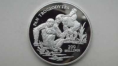 1999 Tanzania 200 Shillings Chimpanzees Silver Proof Coin