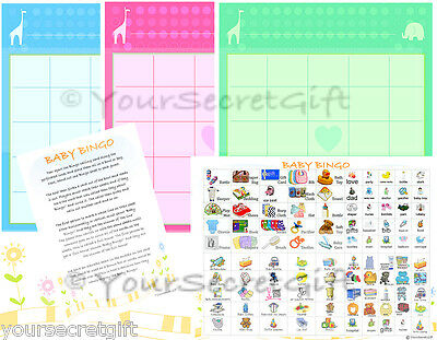 BABY BINGO Baby Shower Game 20 Sheets Players (Pre Filled) UK Boy Girl Neutral