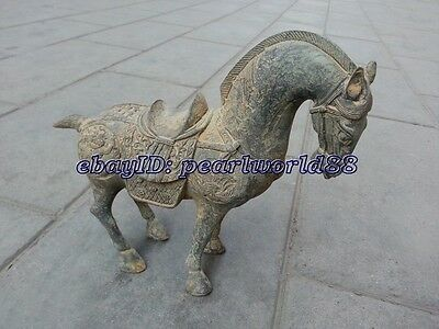 Worth collecting! Chinese Antique Old Style copper horse pattern statue