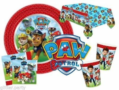 Paw Patrol Boys Party Complete Kits 8 To 48 Guests Tableware Plates Cups Napkins