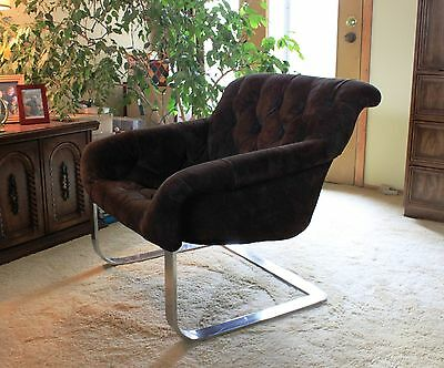 Milo Baughman Mid Century Cantilever Leather Lounge Chair