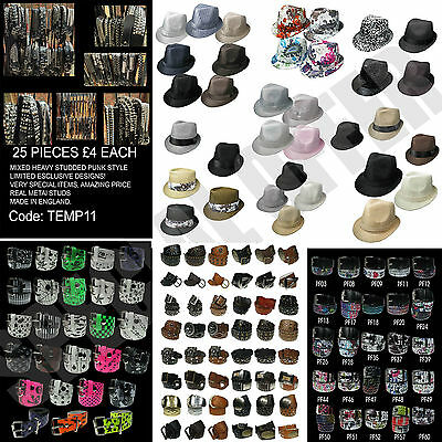 Mixed Wholesale Lot Of Mens Womens Real Leather Punk Belts,Printed Belts & Hats