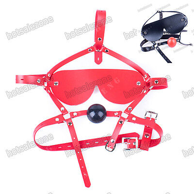 PVC Leather Belt Food grade soft silicone Ball Mouth Gag Eye Patch chin