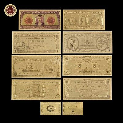 8PCS Costa Rica Gold/Colored Banknote Set Of Diff. Period 24k .999 Gold Free COA