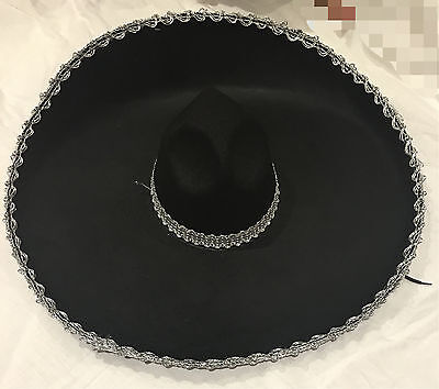 Adult Mens Womens Mexican Costume Sombrero Hat Black W Silver Trim Party Dress