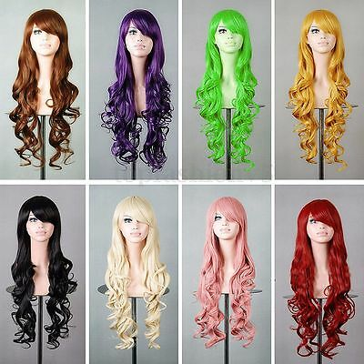 Parrucche Capelli Lunga Wavy Curly Donna Anime Costume Party Cosplay Hair Wigs