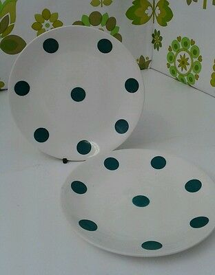 "A Pair of Vintage J & G Meakin Studio Ware Green Polka Dot 7"" Side Plates  (b13)"
