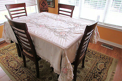 "Vintage Table Cloth Embroidered With Crochet Inserts 72"" X 59"""