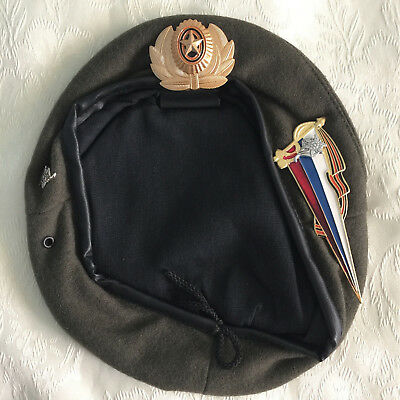 Russian beret. Russia OLIVE Army Spetsnaz  mountain units. Size 59 and 60, badge