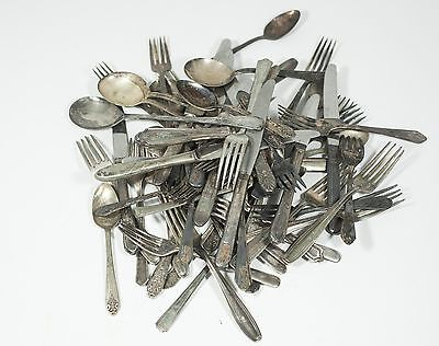 5 LB Mixed Lot of Assorted Silverplate Flatware Spoons Knives Forks - Crafts