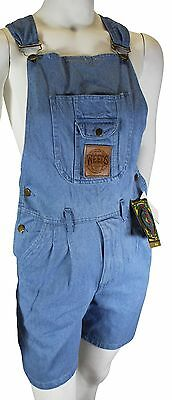 NEW VTG 90s WEEDS Shorts OVERALLS Large Blue Denim Bib Romper SHORTALLS NOS NWT