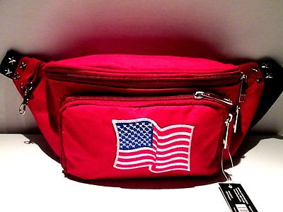RED FANNY pack with FLAG & SILVER STUDS 10x6