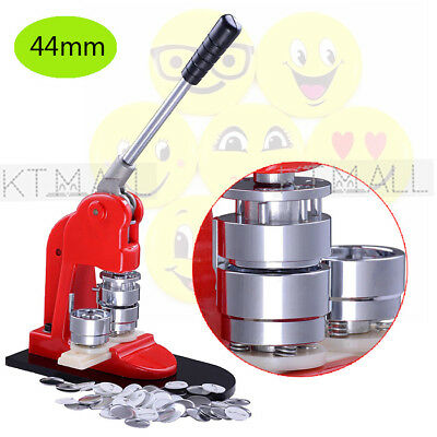 New 44mm Button Parts Maker Badge Punch Press Machine + 500 Parts Circle Cutter
