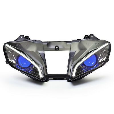 KT LED Angel Halo Eye Headlight Assembly for Yamaha R6 2008-2016 2012 2015 Blue