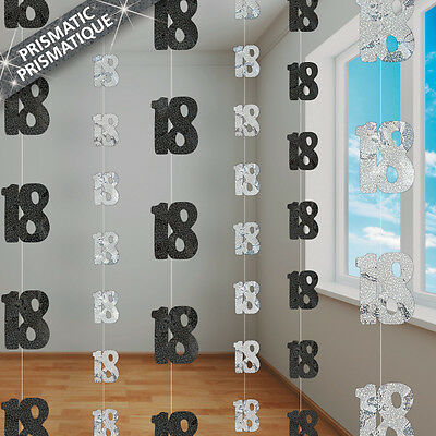18th BIRTHDAY PARTY SUPPLIES PK 6 GLITZ BLACK AND SILVER HANGING DECORATIONS