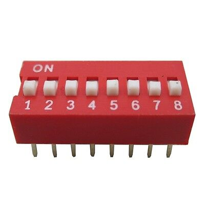 5PCS NEW Red 2.54mm Pitch 8-Bit 8-Positions Way Slide Type DIP Switch Module