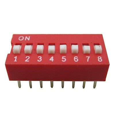 10PCS NEW Red 2.54mm Pitch 8-Bit 8-Positions Way Slide Type DIP Switch Module