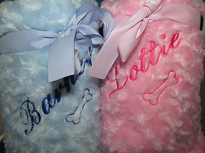 Personalised Dog Blanket Soft & Fluffy Embroidered Name Gift Ideal For Bed Crate