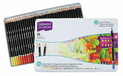 Derwent Academy Colouring Pencils Tin Set of 36 Assorted Blendable Colours