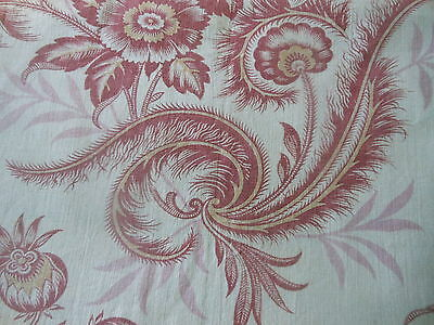 Antique French Time Softened Floral Cotton Linen Fabric ~  Rose Pink Mauve Plum