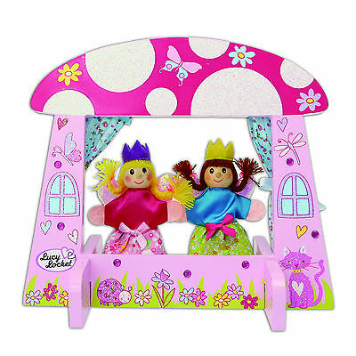 Kids Mini Fairy Tale Wooden Puppet Theatre with Two Finger Puppets - Lucy Locket
