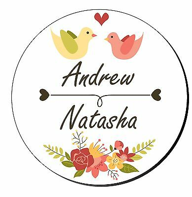 24 Personalised Wedding Engagment Stickers Decorative Floral Love Birds Favours