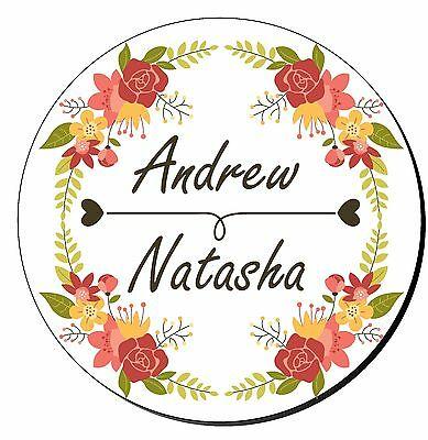 24 personalised wedding engagement mehndi stickers decorative floral border