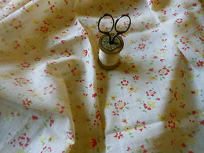 Antique French Red Yellow Small Softened Floral Voile Cotton Fabric ~dolls bear