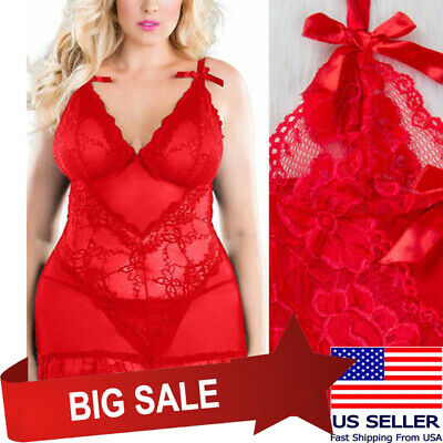 Red Sheer Floral Lace Mini Dress Chemise Nightie Lingerie Babydoll Teddy M-7XL