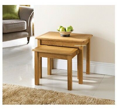 Nest Of 2 Solid Oak Table Tea Coffee Paper Side Lamp Living Bed Room Table Unit