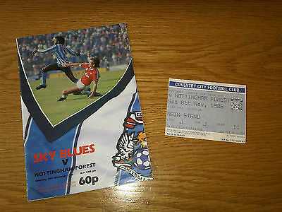 Coventry City Football Club v Nottingham Forest - 08/11/86 - Matchday Magazine
