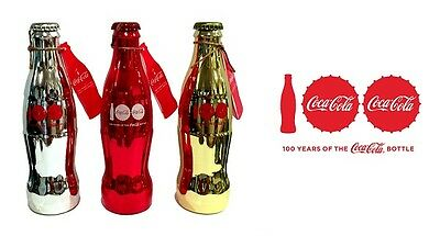 Coca Cola Coke Fourth Edition Red Gold Silver 100Th Anniversary Bottles  All 3