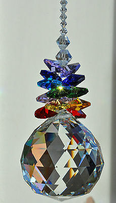 Big 50mm Faceted Crystal Sphere ball hanging suncatcher handrafted art reiki