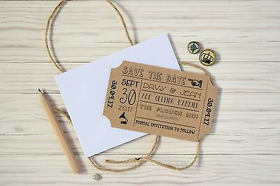 Vintage Ticket Save the Date Cards with Envelopes - Wedding Invitations