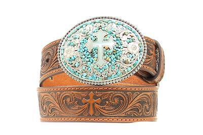 Nocona Western Girls Kids Belt Turquoise Cross Buckle Brown N4430802