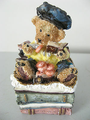 Trinket Box Resin Teddy Book Stack Hinged Lid Ornament