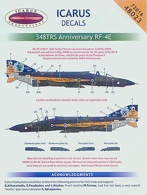 Icarus 1/48 decal 348 TRS New Anniversary RF-4E - #48023