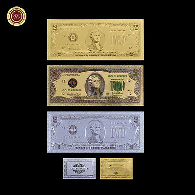3PCS Two Dollar $2 Bill Federal Reserve US Gold/Silver/Colored Dollar Banknote